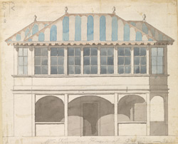 Colored elevations of three sides of Mr. Hunter's House at Gubbins, or Gobions, in the parish of North Mims, formerly the property of Sir Thomas Moore 64.a